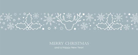 christmas card with white seamless pattern snowflakes and deer vector illustration
