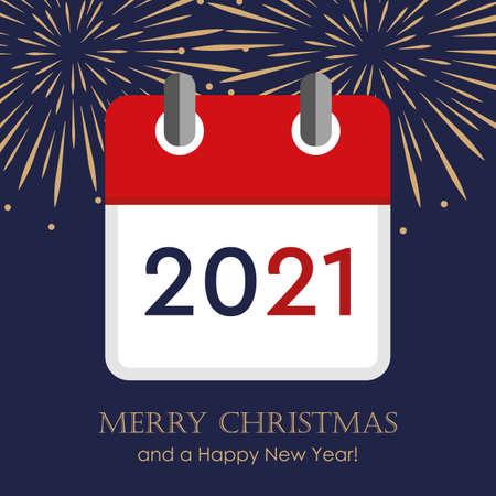 red calendar 2021 new year firework background vector illustration EPS10 Ilustração