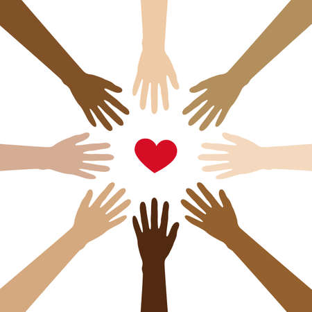 group of human hands with different skin colours build a circle around heart vector illustration