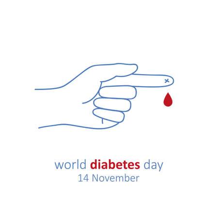 calendar blood drop world diabetes day 14 november vector illustration Ilustração