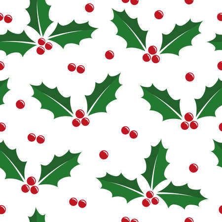 christmas holly berry seamless pattern isolated on white