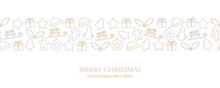 christmas card with winter decoration border Ilustração