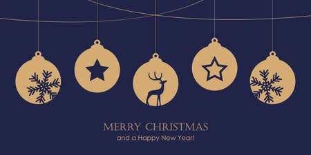 christmas card with star tree balls decoration vector illustration EPS10