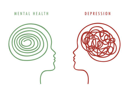 mental health concept woman brain silhouette