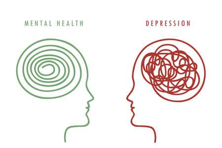 mental health concept man brain silhouette