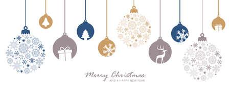 merry christmas card with hanging ball decoratoin vector illustration EPS10 Ilustração
