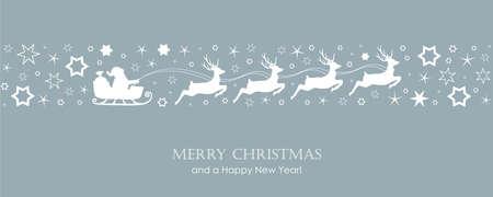 christmas card with santa sled and deer on star border vector illustration EPS10 Ilustração