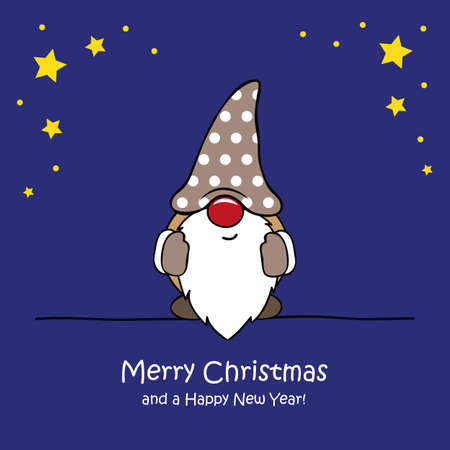 cute christmas dwarf with star christmas cartoon vector illustration EPS10 Ilustração