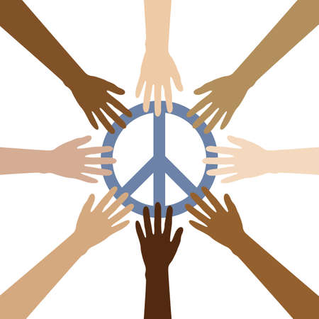 group of human hands with different skin colours build a circle around peace symbol vector illustration EPS10