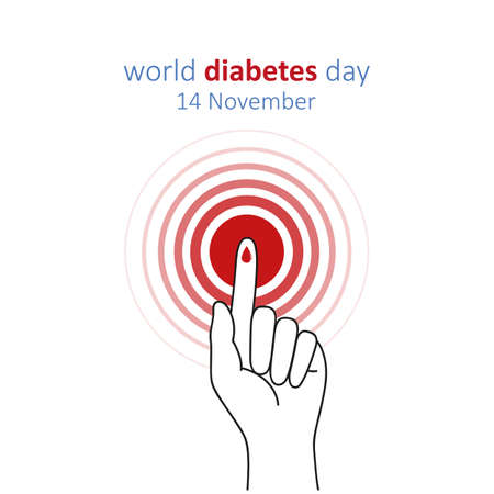Red circle and finger with blood drop world diabetes day 14 November illustration