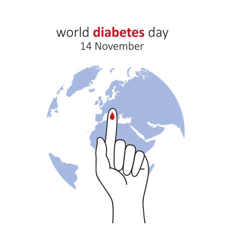 Blue circle and finger with blood drop world diabetes day 14 November illustration