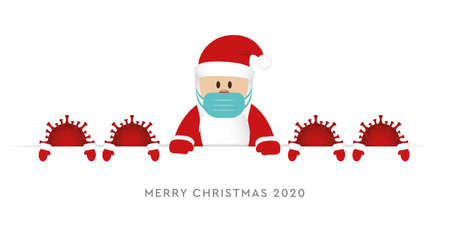 Santa claus wearing face mask with viruses illustration