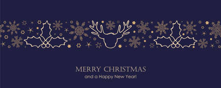 blue christmas card with white seamless pattern snowflakes and deer vector illustration