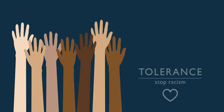 raised human hands respect and tolerance concept vector illustration EPS10