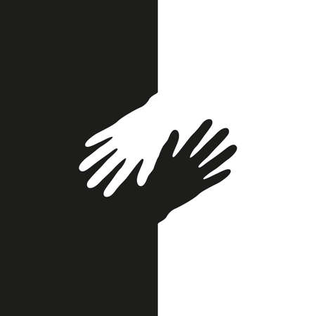 black and white human hand isolated vector illustration EPS10