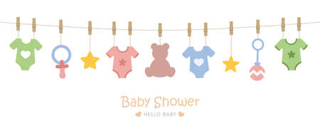 baby shower welcome greeting card for childbirth with hanging utensils vector illustration EPS10 Ilustração