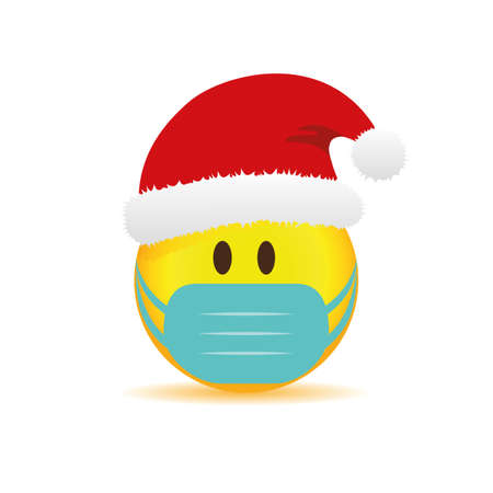 smiley emoji with red santa cap and mask vector illustration