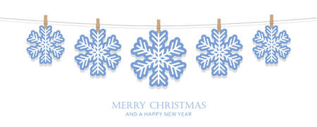 blue and white hanging snowflakes christmas card vector illustration