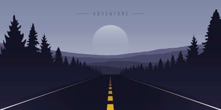 road trip asphalt road in the mountains vector illustration