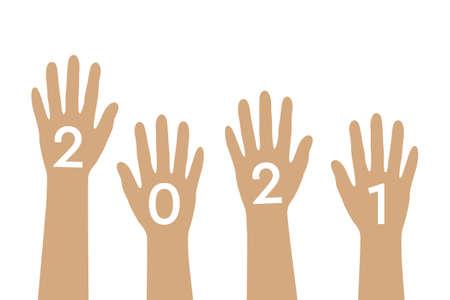 raised human hands 2021 isolated on white background vector illustration Ilustração