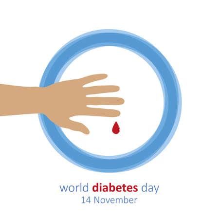 hand and blood drop world diabetes day 14 november vector illustration Ilustração