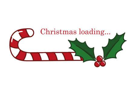christmas loading candy cane and holly berry vector illustration EPS10 Ilustração