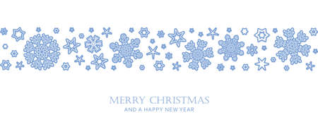 christmas card with snowflake border vector illustration Ilustração