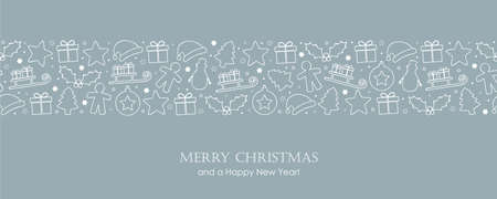 christmas card with winter decoration border vector illustration