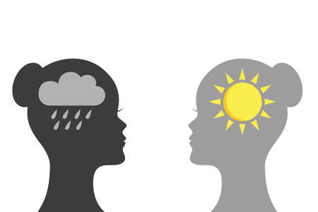 mental health concept woman with rain and sun symbol silhouette vector illustration