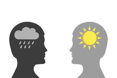 mental health concept man with rain and sun symbol silhouette vector illustration