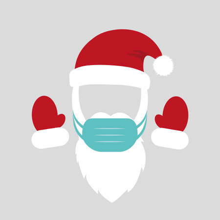 santa claus costume with mask beard cap and gloves vector illustration Ilustração