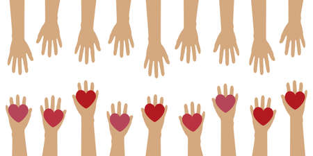 human hands with heart love concept isolated on white vector illustration EPS10