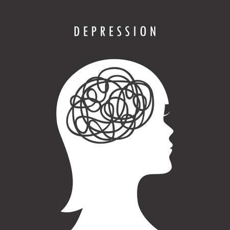mental health depression concept female head silhouette vector illustration 向量圖像