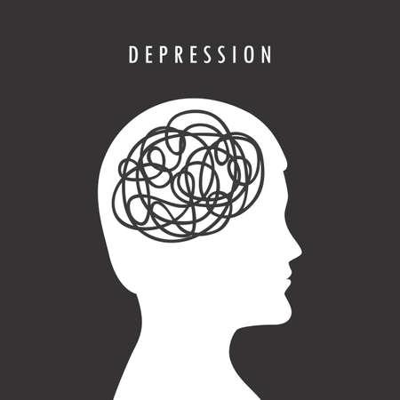 mental health depression concept male head silhouette vector illustration
