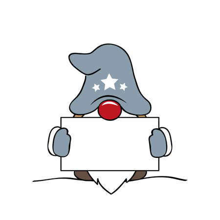 christmas cute gnome with grey clothes and card vector illustration EPS10