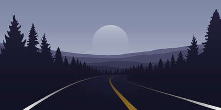 asphalt road in forest and mountains by night vector illustration
