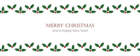 christmas card with seamless holly berry border vector illustration