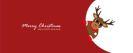 cute reindeer with sunglasses looks around the corner funny christmas design vector illustration EPS10 Ilustração