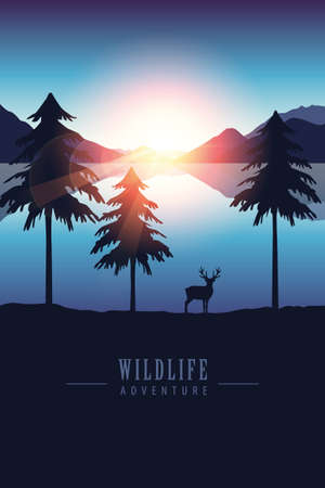 wildlife adventure elk in the wilderness by the lake at sunset vector illustration 向量圖像