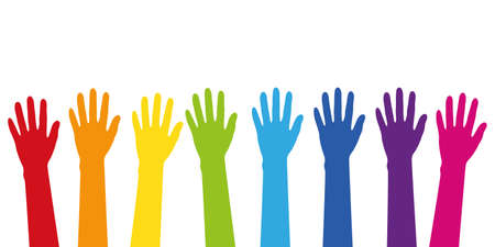 colorful raised hands in rainbow colors isolated on white vector illustration EPS10