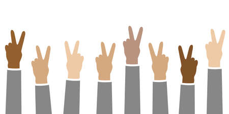 raised hands in different skin colors peace concept isolated on white vector illustration 向量圖像
