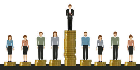 gap between rich and poor work finance concept with coins vector illustration EPS10
