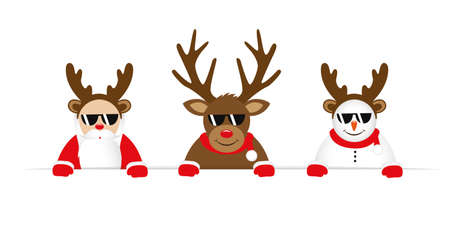 funny christmas cartoon with cute reindeer santa claus and snowman with sunglasses and antler vector illustration Stock Illustratie