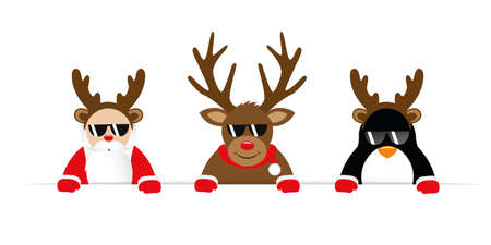 funny christmas cartoon with cute reindeer santa and penguin with sunglasses and antler vector illustration EPS10