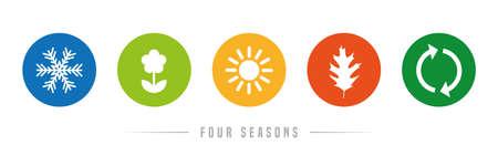 four seasons winter spring summer fall icon set vector illustration EPS10 Ilustração
