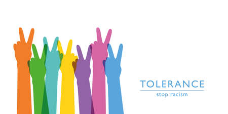 raised human hands respect and tolerance concept vector illustration 向量圖像