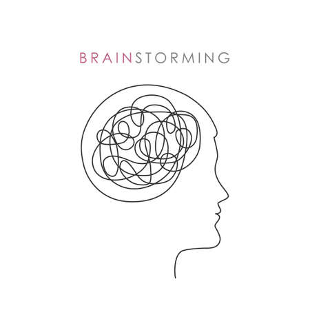 abstract male head brain strorming concept vector illustration