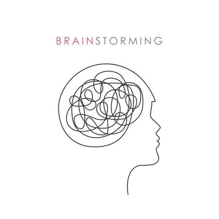 abstract female head brain strorming concept vector illustration EPS10