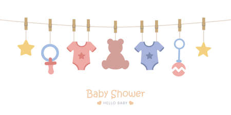 baby shower welcome greeting card for childbirth with hanging utensils vector illustration