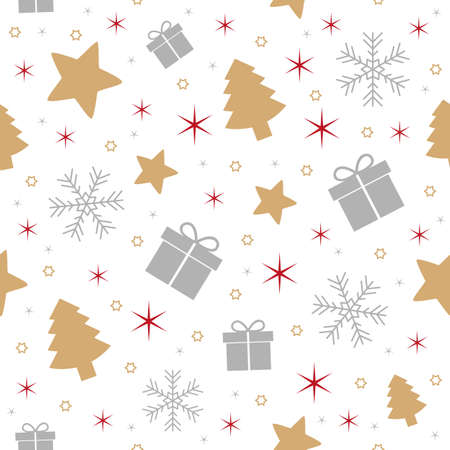 seamless pattern christmas design with star gift fir tree and snowflake vector illustration